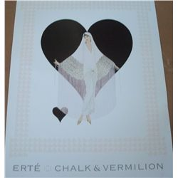 "Erte ""Fringe Gown"" Print of Chalk and Vermilion 28""x20"""