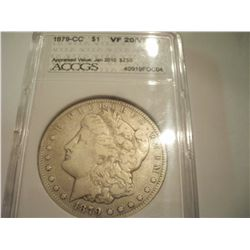 1879 Carson City Silver Morgan Dollar, Graded VF-20