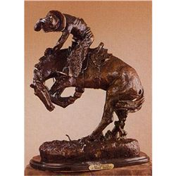 """Rattlesnake"" Cowboy Sculpture. 100% pure bronze.Size: 16""H x 12""W. Signed - Frederick Remington."