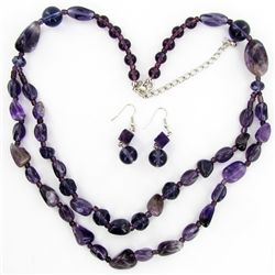 Amethyst & Crystal Necklace Earring Set (JEW-3449)
