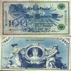 1908 Germany 100 Mk Note Hi Grade Rare Green Ser# (CUR-05666)