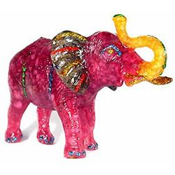 500ct Red Ruby & Topaz Elephant Figure Statue (GEM-4901)