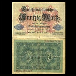 1914 Germany 50 Mark Note Hi Grade Very Rare (CUR-05663)