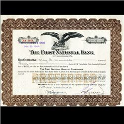 1940s First Natl. Bank Stock Certif. RARE (CUR-06419)