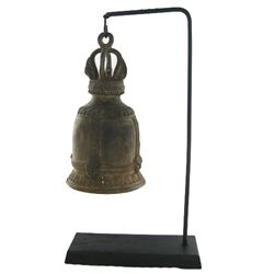Vintage Thai Temple Bell on Stand (DEC-467)