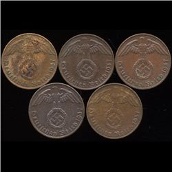 1937A/D/E/F/J Germany 1pf AU+ 5Pcs (COI-9910)