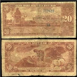 1962 Vietnam 20 Dong Circulated (CUR-06280)