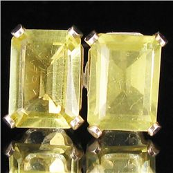 4.42twc Lemon Quartz Sterling Earrings (JEW-2658)