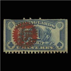 19040 US 1 Pack Playing Card Revenue Stamp Overprinted NICE (STM-0542)