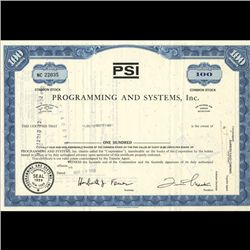 1960s Programming & Systems Stock Certificate Scarce Blue (COI-3412)