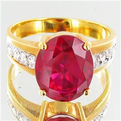 22.8twc Lab Diamond/Ruby Gold Vermeil Ring (JEW-3515)