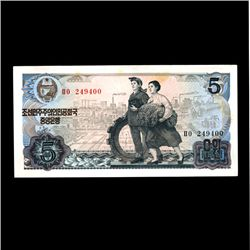 1978 Scarce North Korea Gem 5 Won Note (COI-1889)