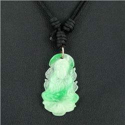 35ct Green Jade Buddha Pendant Necklace (JEW-3584)