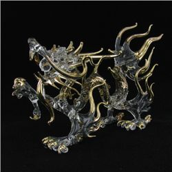 Hand Formed Glass Gilded Dragon (DEC-268)
