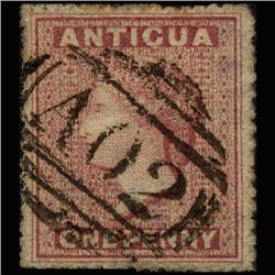 1867 RARE British Antigua 1p Vermilion Used Stamp (STM-1324)