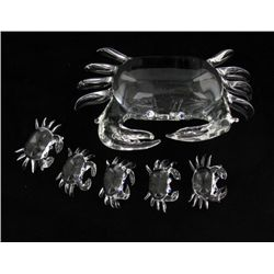 Handcrafted Glass Crab Mom & Kids (DEC-376)