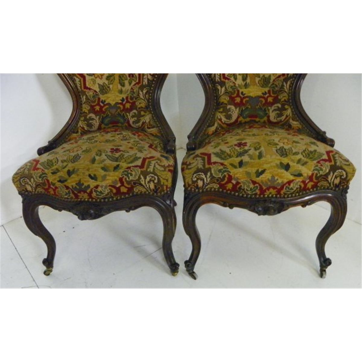 Antique victorian oak press back carved dining kitchen chairs set
