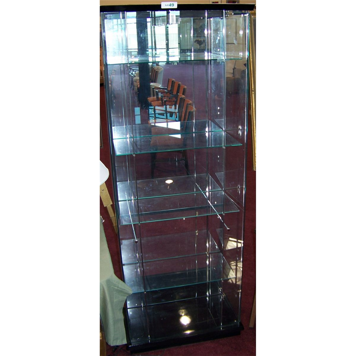 6ft 4 shelf lighted glass display cabinet for Glass cabinet with lights