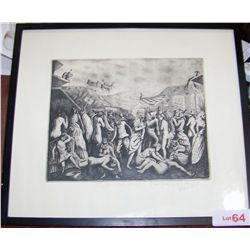 Vintage Framed Etching.