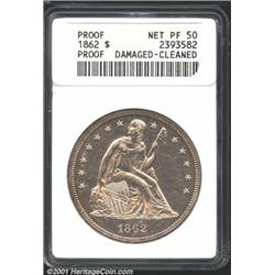 1862 S$1--Damaged, Cleaned--ANACS.
