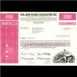 1970s San Juan Racing Stock Certificate Scarce (COI-3359)
