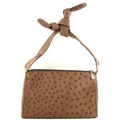 Ladies Brown Ostrich Hide Skin Handbag  (ACT-279)