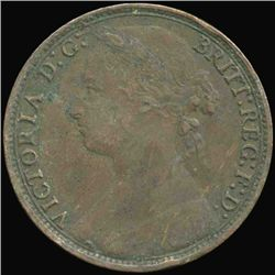 1879 British Victoria Penny XF+ Obverse Variety (COI-7231)