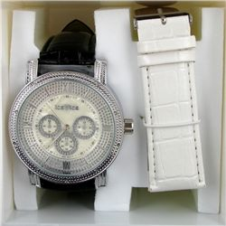 New Ice Time Mens Diamond Bezel Chrono Style Watch (WAT-340)