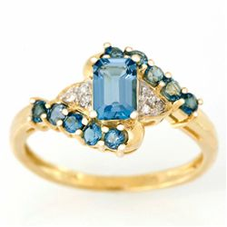 1.80ct London Bl Topaz Diamond Ring 9k Yel Gold (JEW-9361X)