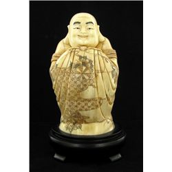 Chinese Handcarved Bone Standing Buddha With Bat (CLB-706)
