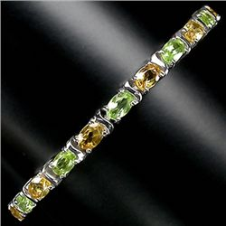 88twc Genuine Peridot Citrine Sterling Bracelet  (JEW-2266)
