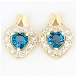 1.1Ct Heart London Blue Topaz Diamond 9K Earrings (JEW-9121X)