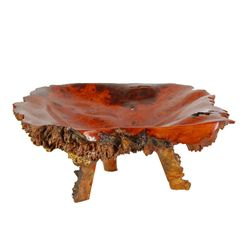 Hand Carved Afzelia Burl Wood Footed Tray  (DEC-107)