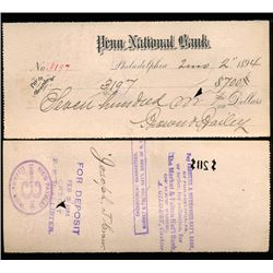 1894 Orig Penn Nat'l Bank Phila. Cashier's Check (CUR-06244)