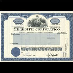 1980s Meredith Corp Stock Certificate Scarce Blue (COI-3425)