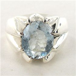 63.74twc Aquamarine Sterling Ring (JEW-2800)