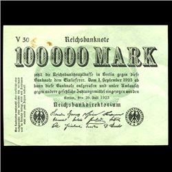 1923 Germany 100000 Mark High Grade Note (COI-3985)