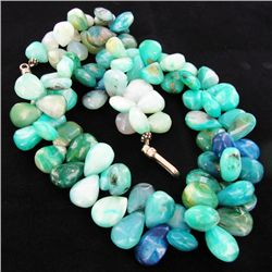 700twc Peruvian Opal Beads Sterling Necklace (JEW-3130)