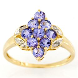 1.52Ct Natural Tanzanite & Diamond 9K Gold Ring (JEW-9054X)