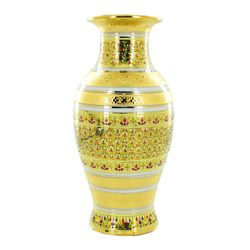 New 24k Heavy Gilded Ornate Benjarong Vase (CLB-645)