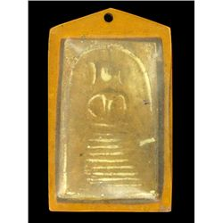 Antique Thai Clay Buddha Amulet in Plastic Pendant Case (ANT-1218)