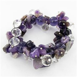 350twc Natural Amethyst Crystal Bracelet (JEW-3457)