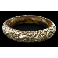 Vintage Tibet Bone Silver Bangle Bracelet (ANT-1593)