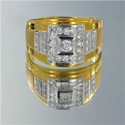 23k Gold Mens .8ct Diamond Elephant Ring 10gm (JEW-1433)