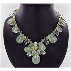 900twc Rare Rutile Prehnite & Crystal Necklace Set (JEW-100)
