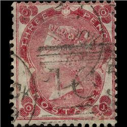 1862 GB 3p Carmine Rose Thick Paper Used Stamp  (STM-1292)