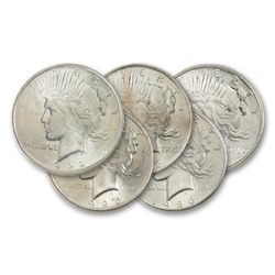 (5) Uncirculated Peace Silver Dollars