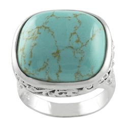 Sterling Silver Created Turquoise Filigree RingSterling Silver Created Turquoise Filigree Ring
