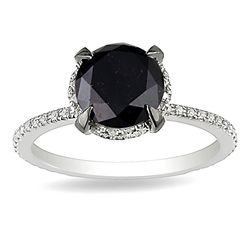 10k White Gold 2 3/4ct TDW Black and White Diamond Ring