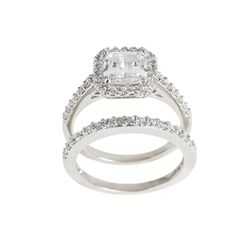 Silver Asscher-cut Clear Cubic Zirconia Bridal-inspired Ring Set